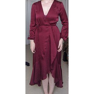Philicia Burgundy Satin Midi Wrap Dress